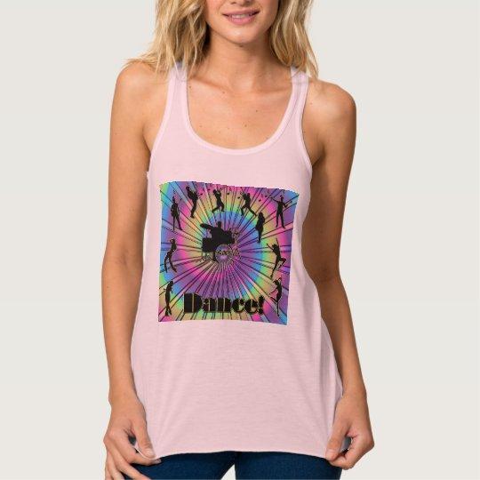 Let's DANCE! Psychedelic Tie-Dye Swirl Dancing T Tank Top