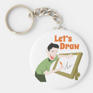 Let's Draw Basic Round Button Keychain