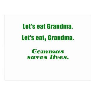 Lets Eat Grandma Commas Save Lives Postcard