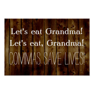 Let's Eat Grandma Funny English Grammar Classroom Poster