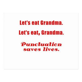 Let's Eat Grandma Punctuation Saves Lives Postcard