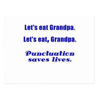 Let's Eat Grandpa Punctuation Saves Lives Postcard