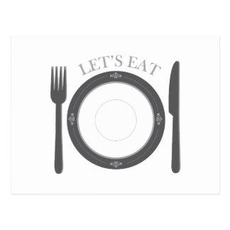 Lets Eat Post Card