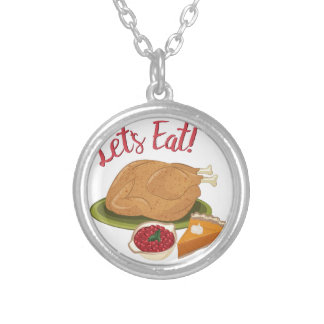 Lets Eat Silver Plated Necklace