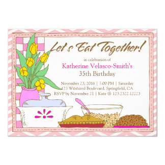 Let's Eat Together Dinner or Lunch Birthday Feast 4.5x6.25 Paper Invitation Card