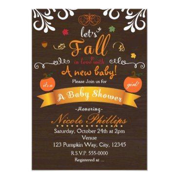 Beach Themed Let's FALL in love Autumn BABY SHOWER Invitation