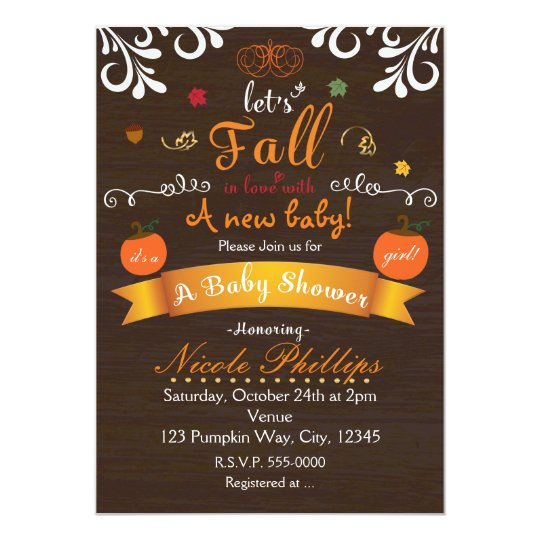 let's fall in love autumn baby shower invitation  zazzle, Baby shower