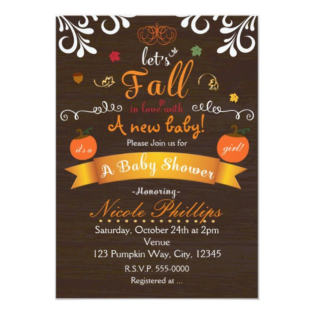 Let S Fall In Love Autumn Baby Shower Invitation Zazzle
