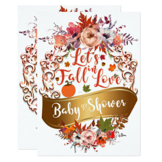 Let's Fall In Love Autumn Floral BABY SHOWER Card