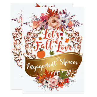 Let's Fall In Love Autumn Floral ENGAGEMENT SHOWER Card