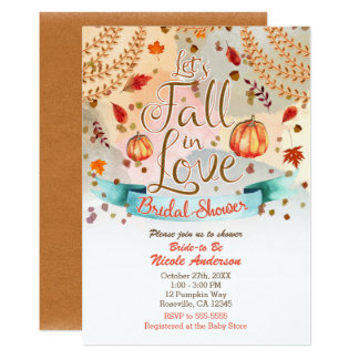Let's Fall in Love Autumn Pumpkin Bridal Shower Invitation