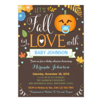 Let's Fall In Love, Pumpkin Baby Shower Invitation