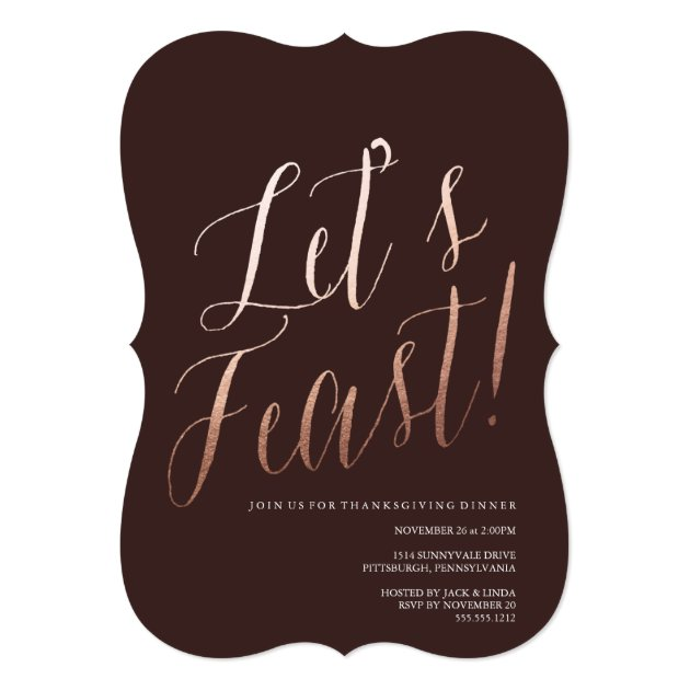 LET'S FEAST thanksgiving dinner invitation