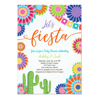 Let's Fiesta Baby Shower invitation Mexican Cactus