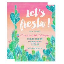 Lets fiesta Cacti pattern watercolor Cinco de mayo Invitation