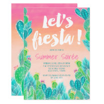 Lets fiesta Cacti pattern watercolor summer party Invitation
