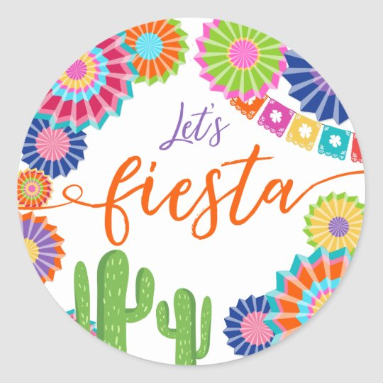 Lets fiesta favor tag sticker mexican cactus