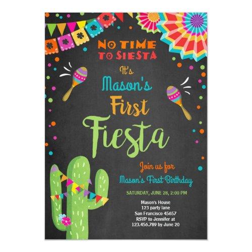 Lets Fiesta Mexican Birthday Cactus Boy Invitation