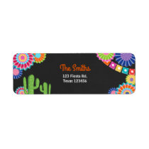 Let's Fiesta Mexican Return Address Label Cactus