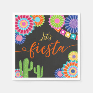 Fiesta Napkins for Wedding Personalized Cocktail Napkins Mexican Themed Rehearsal Dinner Napkins Lets Fiesta Party Supplies Cactus Napkins