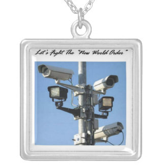 Let's Fight The New World Order Square Pendant Necklace