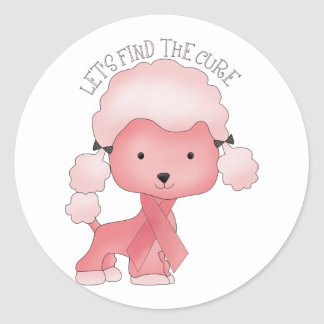 Let's Find The Cure Poodle Classic Round Sticker