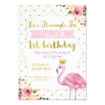 Let's Flamingle Floral 1st Birthday Invitation