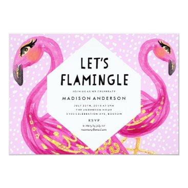 Beach Themed Let's Flamingle Party Invitation