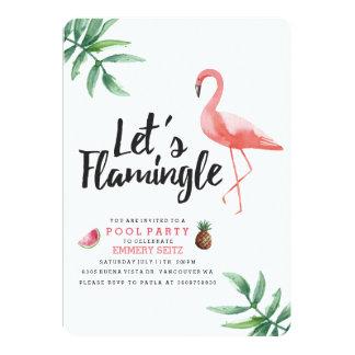 """Let's Flamingle Pool Party Invitation Invitación 5"""" X 7"""""""