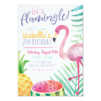 Let's Flamingle Summer Birthday Party Invitation