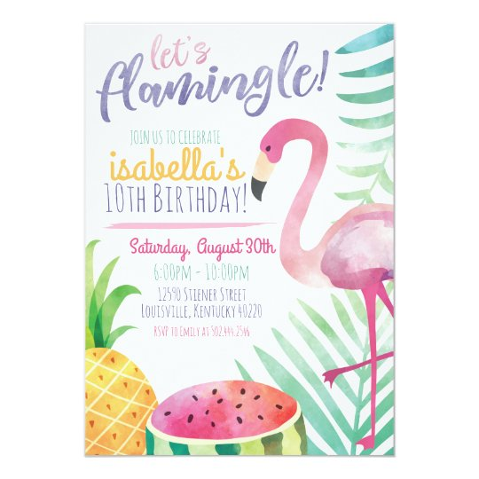 let's flamingle summer birthday party invitation | zazzle, Party invitations