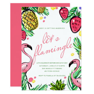 Let's Flamingle Tropical Bachelorette Party Invite