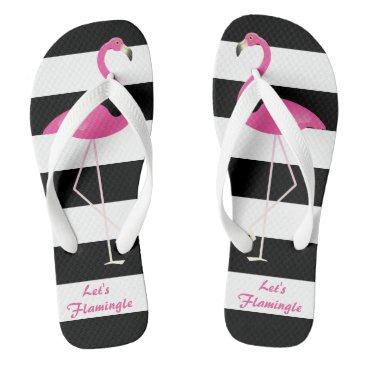 Beach Themed Let's Flamingo Flip Flops