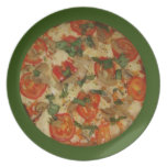 Let's Get a Pizza! Green Rimmed Veggie Pizza Plate