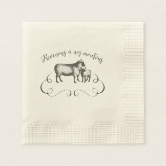 Let's Get Back to Our Sheep - Funny Vintage Farm Paper Napkin