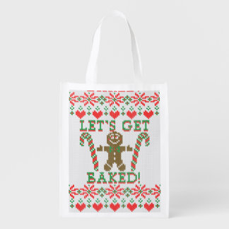 Let's Get Baked The Gingerbread Man Says Reusable Grocery Bag