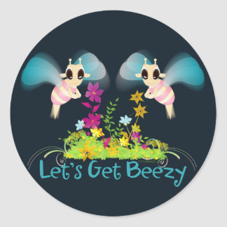 Let's Get Beezy! Classic Round Sticker