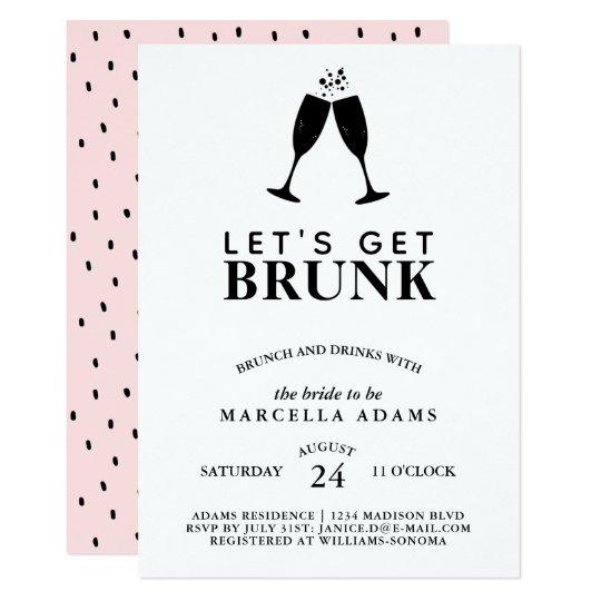 lets get brunk brunch drinks bridal shower invitation