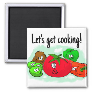 Let's get cooking, cartoon vegetables magnet