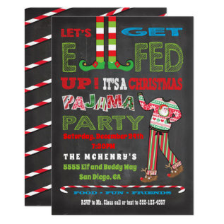 Let's Get Elfed Up Chrismas Pajama Party Card at Zazzle