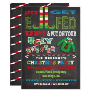 Let's Get Elfed Up Chrismas Party Elf Invitation at Zazzle