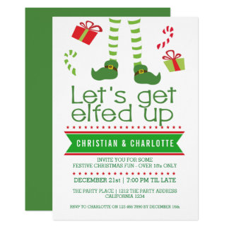Lets Get Elfed Up Christmas Party Card