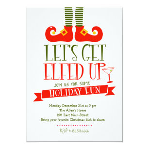 Christmas party invitations zazzle lets get elfed up christmas party invitation stopboris Gallery