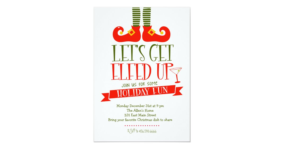 Let\'s get Elfed Up Christmas Party Invitation | Zazzle.com