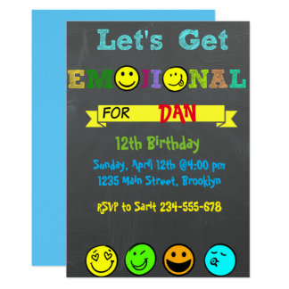 Let's Get Emojinal, Emoji Boy Birthday Invitation