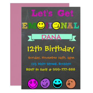 Let's Get Emojinal, Emoji Girl Birthday Invitation