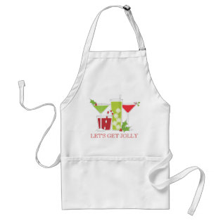 Let's Get Jolly Christmas Cocktails Adult Apron at Zazzle