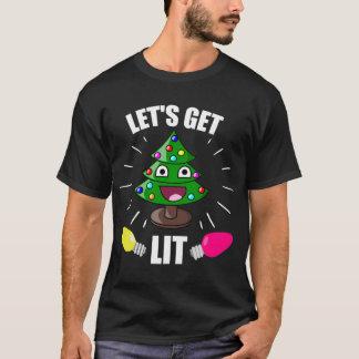 Let's Get Lit Christmas Humor T-Shirt