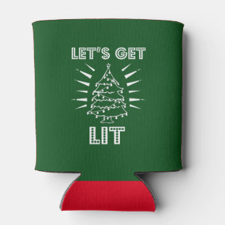 Let's Get Lit Funny Saying Christmas Shirt Can Cooler at Zazzle