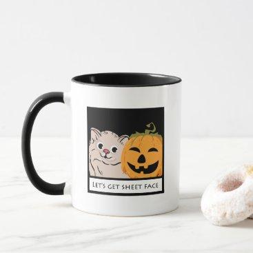 """Halloween Themed """"Let's get sheet face"""" Cat pumpkin Coffee tea gift Mug"""